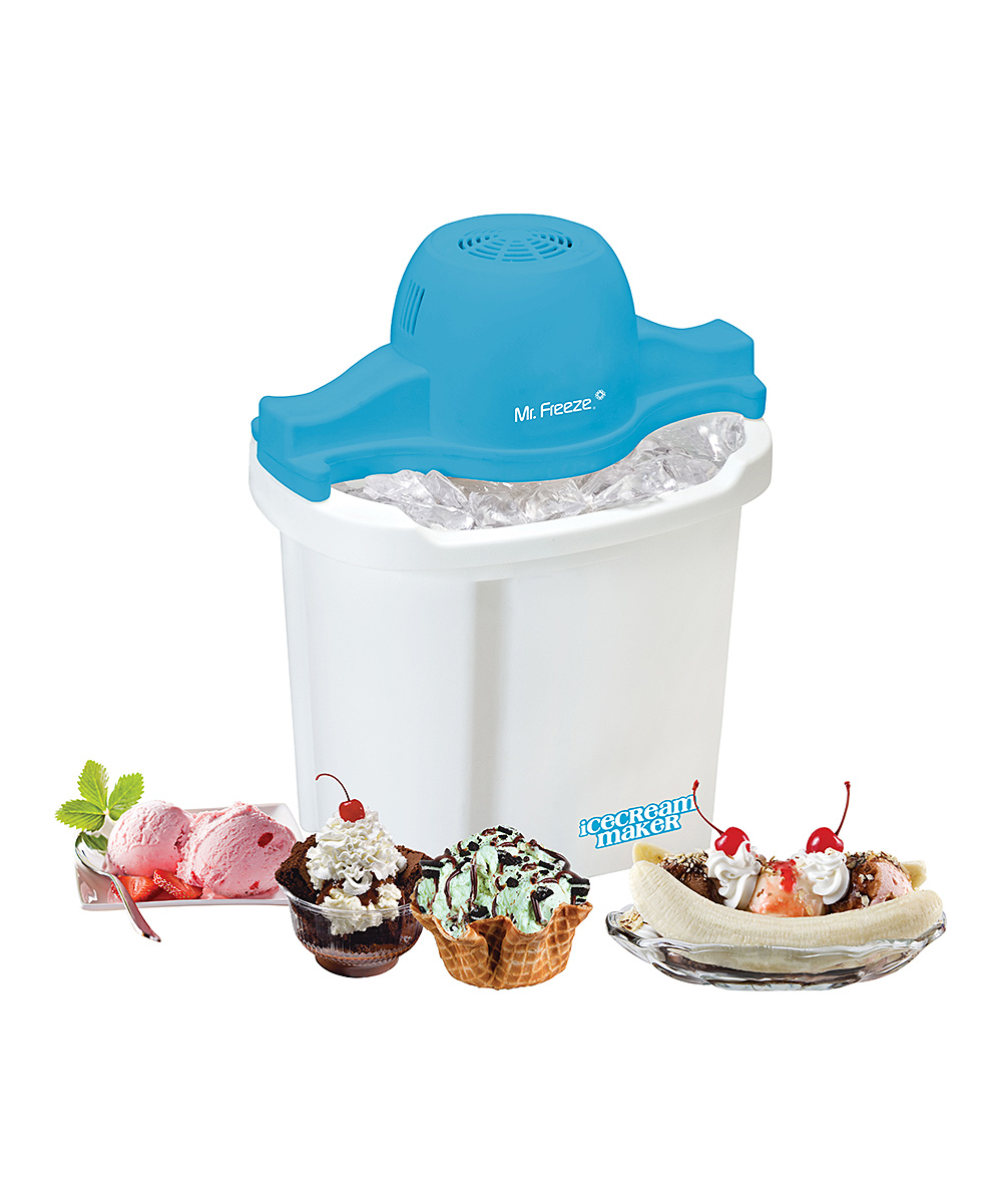 Elite  Ice Cream Makers  - Mr. Freeze Electric 4-Qt. Ice Cream Maker Mr. Freeze Electric 4-Qt. Ice Cream Maker. Thanks to a four-quart heavy-duty aluminum canister and a powerful motorized paddle, making ice cream is fast, convenient and fun. A six-fin paddle integrates fruit, cookies, chocolate chips or other toppings as well as to keep things moving within a specially designed bucket that keeps the ice cream canister at 10F.Holds 4 qt.90-rpm motor churns ice cream in under 40 minutesPlastic / aluminumHand washImported