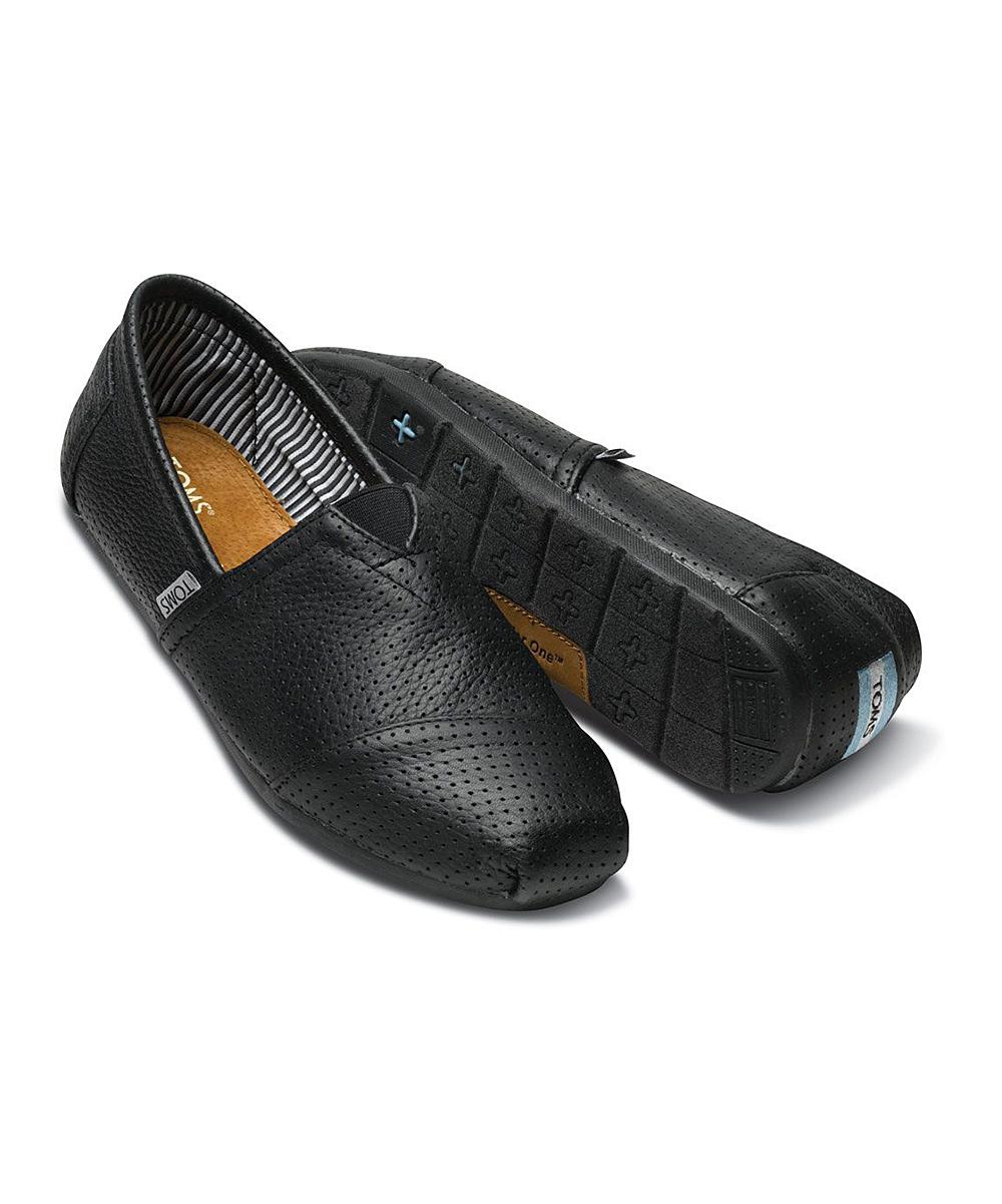 2ea54324f0d TOMS Black Perforated Leather Classics - Men