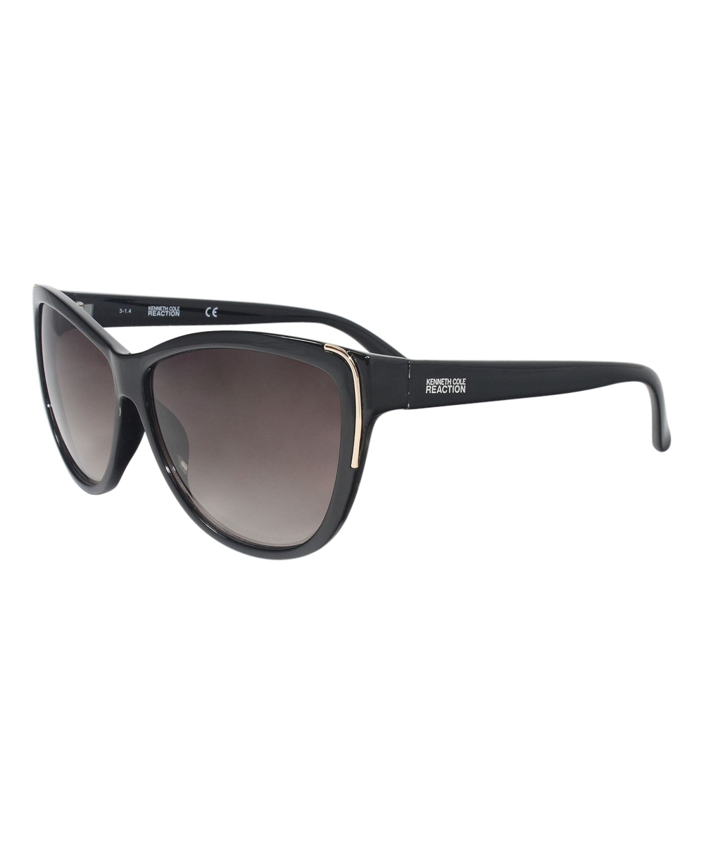 6258b5e062f96 Kenneth Cole Reaction Shiny Black   Brown Cat-Eye Sunglasses - Women ...