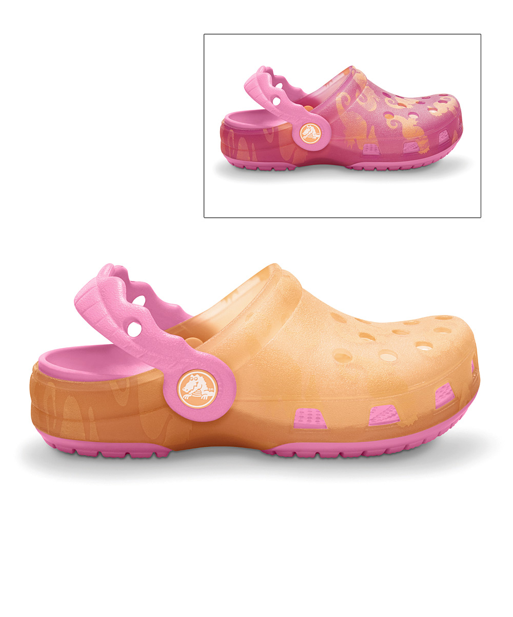 25a74bdfdb008 Crocs Cantaloupe   Pink Sea Horse Translucent Chameleons Clog - Kids ...