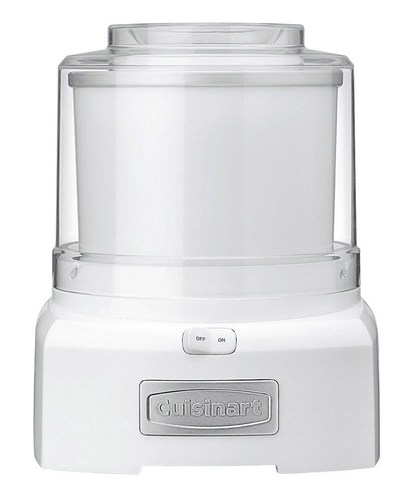 Cuisinart  Ice Cream Makers White - White Automatic Yogurt, Ice Cream & Sorbet Maker White Automatic Yogurt, Ice Cream & Sorbet Maker. Concoct deliciously cool, creamy treats right at home with this device that creates cold desserts in just 20 minutes or less. The double-insulated freezer bowl eliminates the need for ice, while the easy-lock lid has a large spout that makes adding ingredients simple and mess-free. 9'' W x 14'' H x 9'' DHolds 1.5 qts.PlasticHand washImported