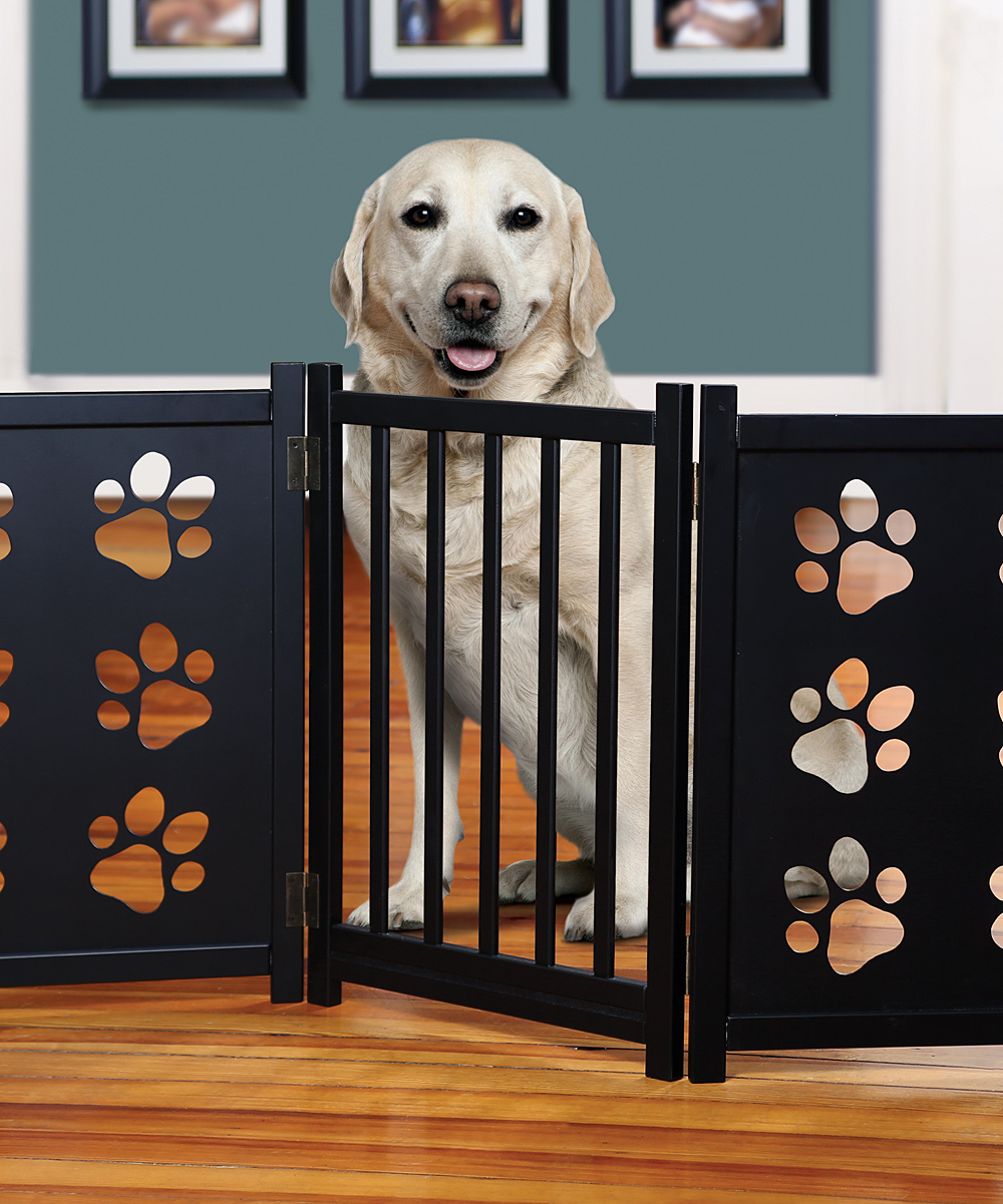 Etna Products Three Panel Paw Print Wooden Gate