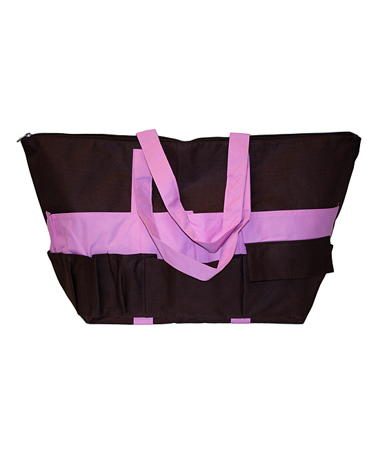 Neatnix  Totebags Brown - Brown & Light Pink Stuff Bag Brown & Light Pink Stuff Bag. This spacious bag is completely collapsible, making it a versatile way to tote on-the-go essentials to the beach, pool, party or scrapbook meet-upjust about anywhere. 26'' W x 15'' H x 10'' DNylonImported